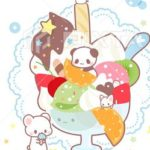 アイスパフェパンダ・猫・シマエナガ・しろくまの暑中見舞い素材販売