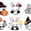 ハロウィン素材☆販売・うさぎ・パンダ・猫・オオカミ・動物ハロウィンパーティイラストアイコン